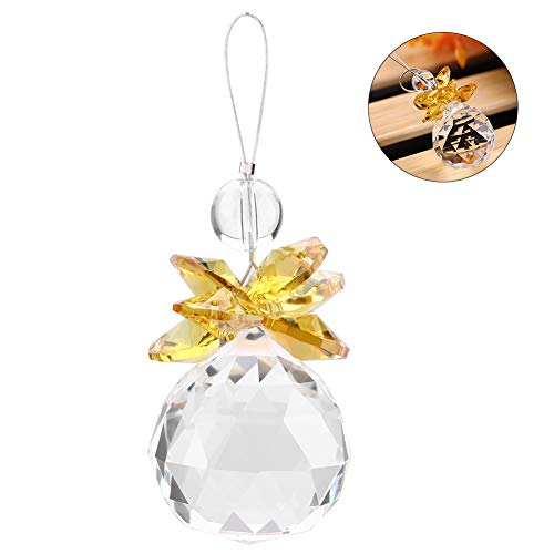 Crystal Ball Clear K9 Crystal Zonnevanger Opknoping Hanger Prisms Hanger Bruiloft Ornament X'Mas Decor voor raam, Kantoor, Tuin Decoratie Geel