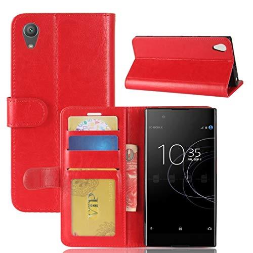 Liaoxig Sony Fälle for Sony Xperia XA1 Plus Crazy Horse Texture Horizontal Flip Ledertasche mit Halter & Kartensteckplätze & Geldbörse & Bilderrahmen (Schwarz) Sony Fälle (Farbe : Red)