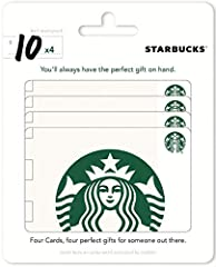 """Contains 4 recyclable Starbucks gift cards. The perfect """"just because"""" gift to anyone in your life. Starbucks Cards redeemable at most Starbucks locations. No returns and no refunds on gift cards."""