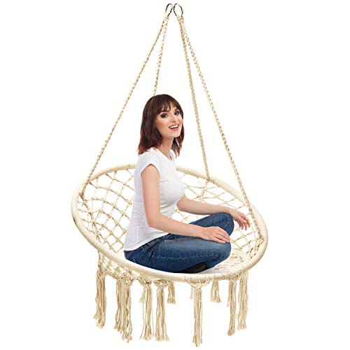 Multigot Swing Chair, Cotton Rope Macrame Hanging Chair with Tassels, Outdoor & Indoor Hammock Chair for Home, Balcony, Patio, Yard and Garden, 150 kg Capacity (Beige)