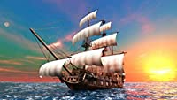 大人用クロスステッチキット夕暮れ時の海でのセーリング船40x50cm14CT番号別スティックキットクラフトキットパンチニードル刺繍DIY手作りスターターキット初心者向け