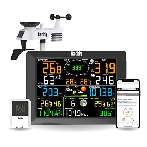 Raddy WF-100C Wetterstation mit Außensensor Funk, 14-IN-1 Wlan Innen-Außenthermometer mit 10 Zoll Digital Farbdisplay, Windmesser Regenmesser Solarsensor für Zuhause, Büro Hausgarten