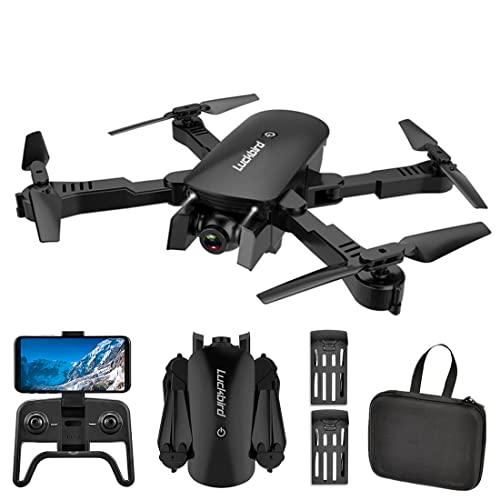 XIAOKEKE Mini Drone con Videocamera HD 4K, Posizionamento del Flusso Ottico A Doppia Videocamera, Seguimi, modalità Senza Testa,Quadricottero Pieghevole WiFi FPV (2 Batterie),Nero