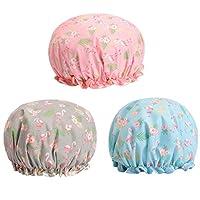 Kingsie 防水 シャワーキャップ 3個セット かわいい フラミンゴ ダブル防水 ヘアキャップ 入浴帽子 レディース お風呂 バスグッズ