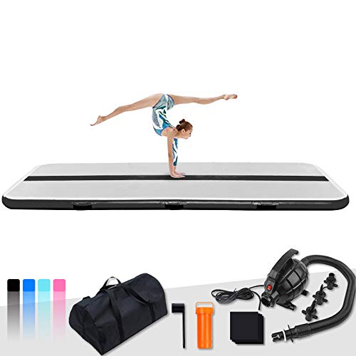 FunWater 10ft/13ft Inflatable Gymnastics Air Track Tumbling Mat 4in/6in Thick Air Floor Tumble Track with Electric Air Pump for Cheer Leading/Gymnastics/Beach/Gym/Home