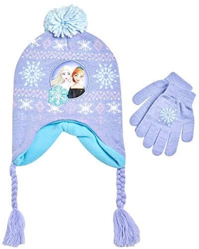 Disney Little Girls Frozen Elsa and Anna Beanie Hat and Gloves Cold Weather Set (Age 2-7), Size Age 4-7, Frozen Purple Gloves