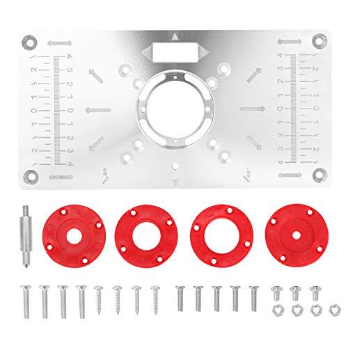 KKmoon Router Tisch mit 4 Ringen und Schrauben Aluminiumlegierung Tischplattenschneider Holzbearbeitungsbänke Nur für GKF550 und RT0700C