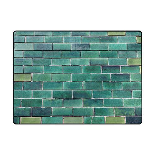Montoj Portuga - Rascador de barro con patrón de ladrillos esmaltados, color verde, poliéster, 1, 80 x 58 inch