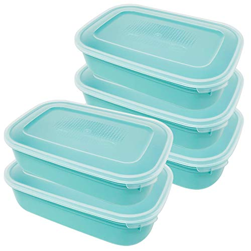 Codil Contenitori plastica, contenitori ermetici, rettangolari, congelatori conservare mantenere gli alimenti freschi, adatti per forno a microonde lavastoviglie, confezione da 5 verde 23,5×15,5×6,5cm