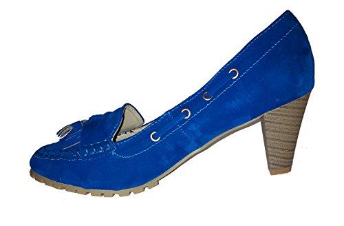 Topmodische Pumps High Heels Mokassins in Samtoptik. Damenschuhe, Schuh für Damen. Topaktueller Trendschuh. Aktueller Modetrend. Blau. PHH129. Größe 37.