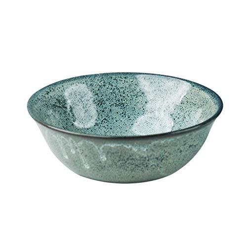 KEKEYANG Cuencos Verde de cerámica Ensaladera Cocina Hogar Menaje de Ramen Tazón 600ml Vajilla
