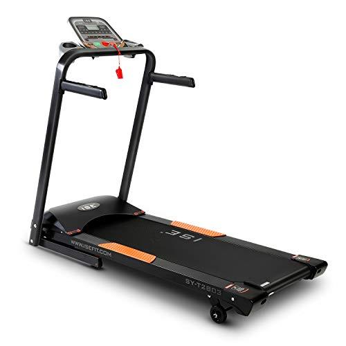 ISE Faltbar Laufband elektrisch Heimtrainer 750w 1.0-14 km/h 15 voreingestellte Trainingsprogramme,Profi Laufband klappbar