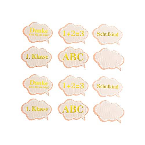 Oblique Unique® 12x Konfetti für Schuleinführung Einschulung Schulanfang Schulbeginn Tischdeko ABC Schulkind 1. Klasse 1 + 2 = 3 Schule Basteln Aufkleben