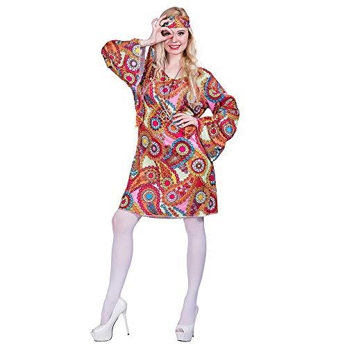 EraSpooky Damen 70er Jahre Hippie Kostüm Faschingskostüme Cosplay Halloween Party Karneval Fastnacht Kleid für Erwachsene
