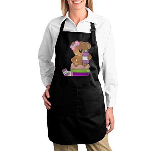 Shenshen Jia Little-Girl-Bear-Holding-Shampoo-Bottle keukenschort met zakken Happy Cactus Polyester geldschort voor mannen zwart