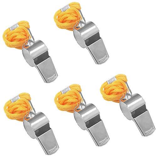 FineGood 5 Stück Edelstahl-Pfeife, laute Metallpfeife mit gelbem Umhängeband, für Schiedsrichter, Trainer, Rettungsschwimmer, Notfall, Fußball, Basketball, Fußball, Hockey