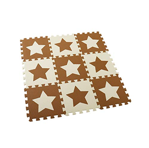 Exanko 9Pcs Baby Eva Foam Puzzle Mat Kids Star Rugs Juguetes Alfombra para Niios Ejercicio de Enclavamiento Floor Tiles-Star