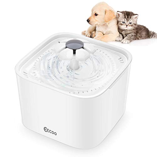 eecoo Katzen Trinkbrunnen, Haustier Blumentrinkbrunnen Automatisch Wasserbrunnen Wasserspender Katzenbrunnen für Tiere Katzen und Hunde Wasser Trinken mit Aktivkohlefilter 2.0 L Weiß