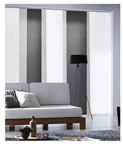 MADECOSTORE Panel japonés Tamiant Lamelles Lisos – Gris Antracita – 45 x 260 cm