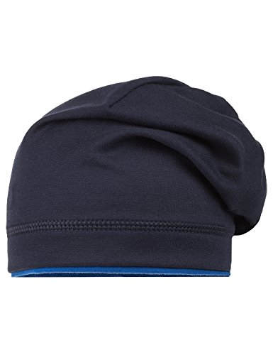 maximo Unisex Jersey Beanie, zweifarbig Strickmütze, Blau (Dunkelmarine/Enzian 1150), 51