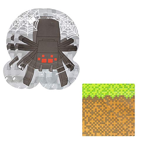 Pixel Spider Shaped Plate & Napkin Sets (35+ Pieces for 16 Guests!), Minecraft-Inspired Party Supplies, Video Game Party Packs, Pixel Party Decorations