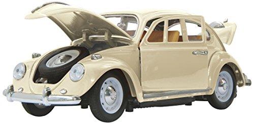 Jamara 405111 - VW Käfer 1:18 RC Diecast creme weiß 40MHz - Kultfahrzeug mit Gummi-Bereifung, öffnen von Türen, Motorhaube und Kofferraum, perfekt nachgebildete Details, hochwertige Verarbeitung