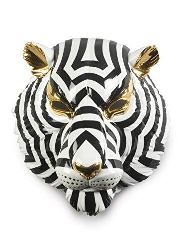 LLADRÓ Tijger Masker. Zwart en goud. Porseleinen Masker.