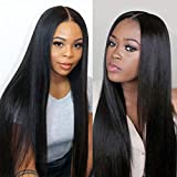 Premier Lace Frontal Wig Light Yaki Straight Brazilian Remy Human Hair Wigs for Women 150% Density 1x3 Silk Base Lace Front Wigs 24 inches Natural Color Middle Part