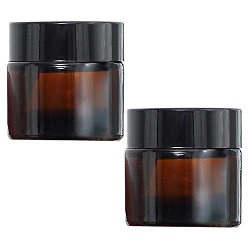 TUAKIMCE 2 Stück 50ml Amber Glas Cremedose Leer Leerdose klarer Tiegel Leerdose Leere Nachfüllbare Behälter Braunen Glasbehälter mit Deckel und Liner für Lotion, Creme, Kosmetik