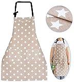 WELLXUNK Schürze,Küchenschürze Damen Schürze Kochschürze,Schürze mit Tasche für Frauen Kochen Arbeit Hausarbeit,zum Kochen oder Backen (grau) - 2