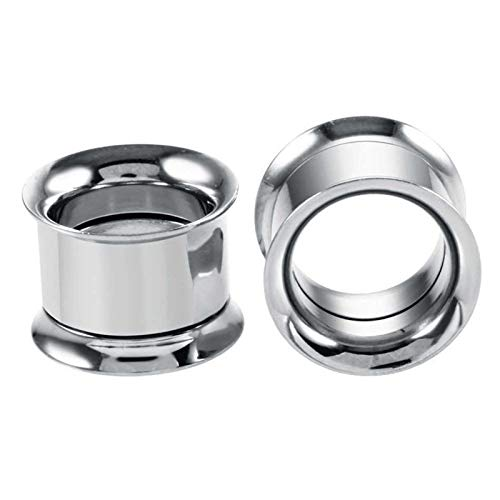 JYBHSH Oído 1PC tapón auditivo dilatador Acero Inoxidable joyería Canal Plug Perforada (Color : EM0079 Silver, Size : 28mm)
