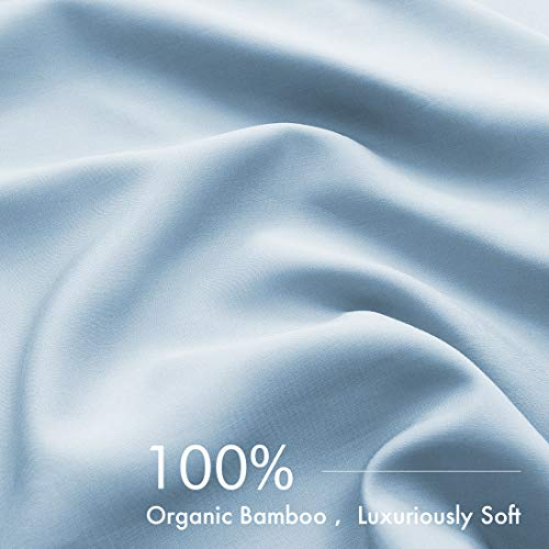 PANDATEX Super Soft 100% Bamboo Sheets Set 4 Pieces Cool & Breathable Fits up to 16 inches Mattress, Natural Organic Eco Friendly Resists Wrinkle Bed Sheets Set - Queen Size, Light Blue