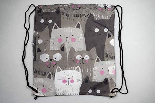 Chilino Rucksack Katze / Zusammenfaltbarer Rucksack mit Umtasche / Umweltfreundlich / 43 x 39 cm