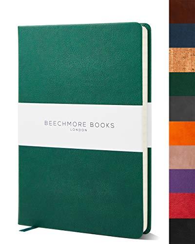 Libreta a Rayas - Cuaderno de Calidad Tamaño A5 de Beechmore Books | Cubierta Rígida en Piel Vegana, Papel Crema en 120 gsm, Libreta Profesional Rayada en Empaque Para Regalo, 21 x 15 cm, Verde