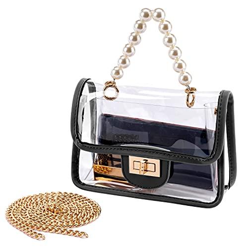 YING YUMEI Clear Purse for Women, Fashion Crossbody Clutch Handbag Cute, Small See Through Bag (Black)