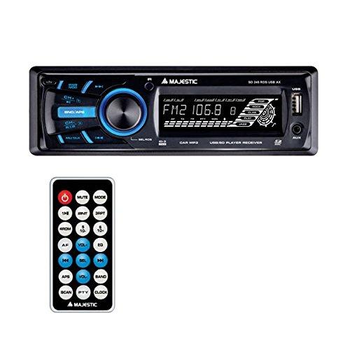 Majestic SD–245Radio Con Entrada Auxiliar Frontal Entrada AUX IN, Mando A Distancia, Panel Frontal Extraíble, Color Negro
