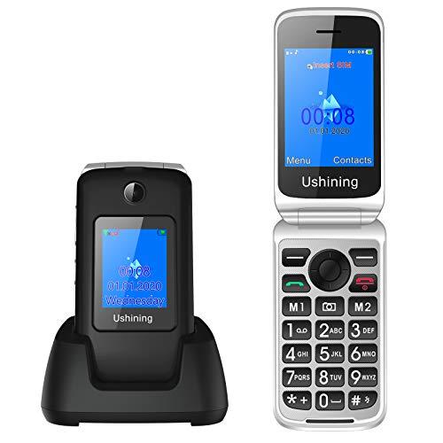 3G Telefono Movil para Mayores,Ukuu 2,8'+1,8' Dual Pantalla Telefonos Móvil con Tapa Teclas Grandes Dual SIM Desbloqueo Alto Volumen 1200mAh y Base Cargadora (Negro)