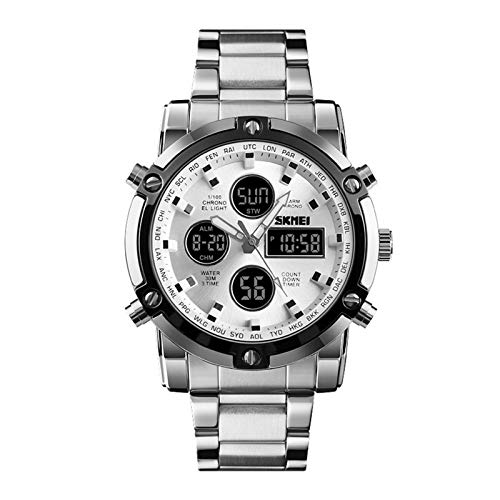 Analog Digitaluhren Multifunktion Herrenuhren Kalender LED Armbanduhren für Herren Alarm Stoppuhr Edelstahlband, Silber