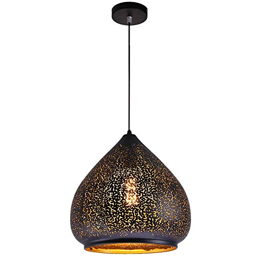 AJD Luz de suspensión marroquí Vintage Lámpara Colgante de Techo de Estilo Oriental Pantalla de Arte de Hierro Tallado Retro Lámpara Colgante Droplight Easy Fit E27 Base de iluminación (Size : 29cm)
