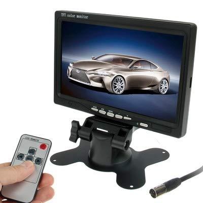 YANTAIAN Monitor de Coche de 7.0 Pulgadas/cámaras de vigilancia con Soporte de ángulo Ajustable y Control Remoto, Entrada de Video Dual