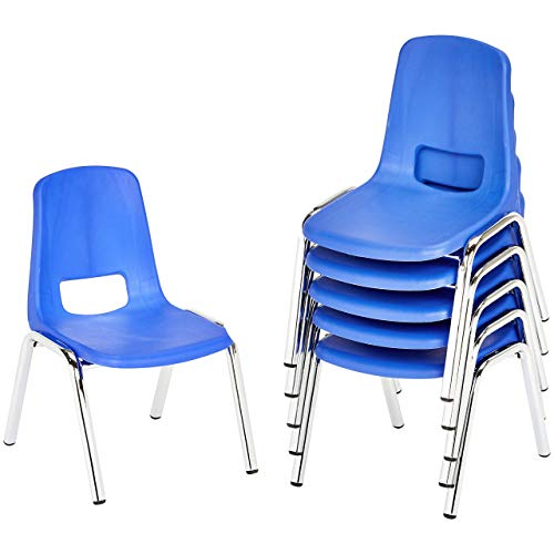 AmazonBasics 16 Inch School Classroom Stack Chair, Chrome Legs, Blue, 6-Pack