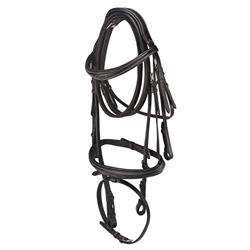 Handcrafted Italian Leather anatomical Bridle set with Rein browband and noseband with Hand Stitch...