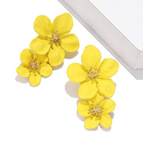 YBFZW Oorbellen voor dames, grote bloemen, gele oorbellen voor dames, oorbellen 2020 trend oorbellen Korea, vintage sieraden voor feestjes
