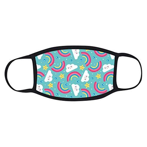 5 Stück Kinder-Mundschutz mit motiv Einfarbig/Cartoon Druck,Waschbar Wiederverwendbar,Baumwolle Stoff Atmungsaktiv,Gesichtsschutz Halstuch Für Jungen Mädchen - 2