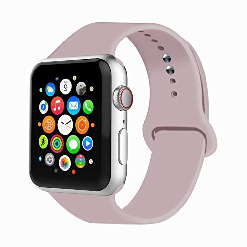 IYOU Sport Band Compatible with Watch Band 38MM 42MM 40MM 44MM, Soft Silicone Replacement Sport Strap Compatible with 2018 Watch Series 5/4/3/2/1(Pink Sand,38MM, S/M)