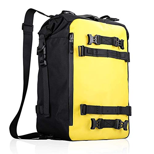 Bluetooth earphone 20L Waterproof Motorbike Rear Rack Pannier Motorcycle Saddlebag Tank Bag Shoulder Backpack Camping Cycling Storage for Hiking, Adventure, Outdoor Play (Color : Yellow)