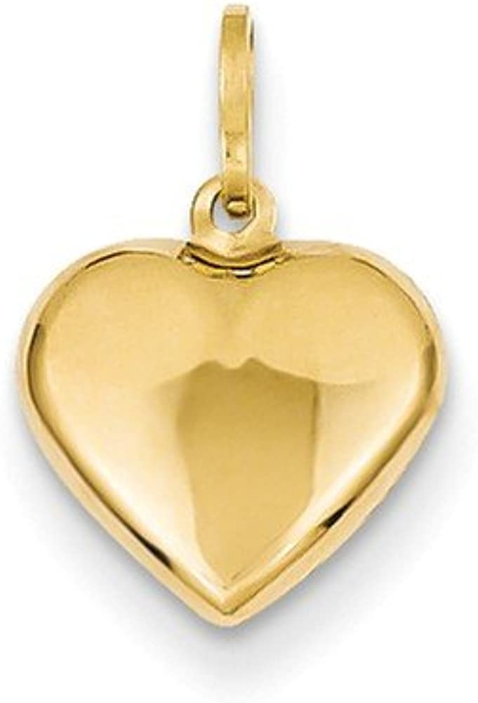 Black Bow Shipping included Jewelry 14k Yellow Gold Puffed or Charm Pendant Heart Fresno Mall
