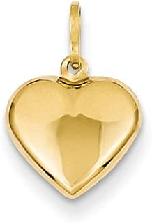 Black Bow Jewelry 14k Yellow Gold Puffed Heart Charm or Pendant, 10mm
