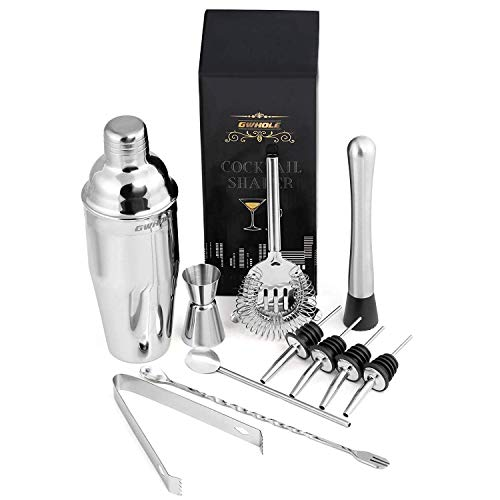 GWHOLE Cocktail Shaker Kit Cocktail Making Set with Recipes (e-Book) in Elegant Gift-Box