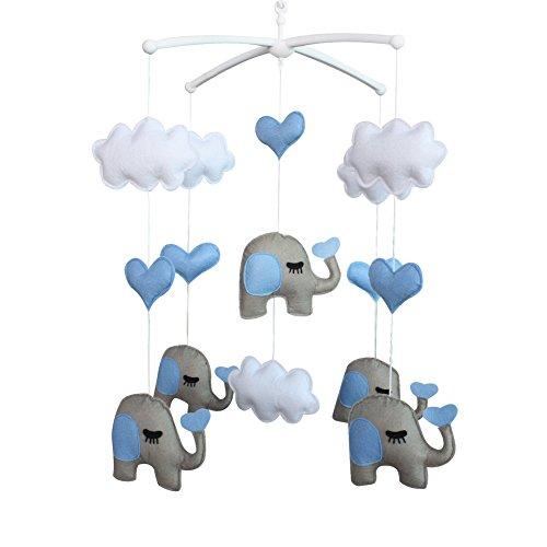 Pigeon Fleet Bebé Cuna Móvil Animal Cuna Musical Habitación Infantil móvil Decoración Colgante Juguete Azul Gris Corazón Nube Elefante